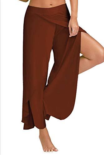 Boho Hop Pantaloni Pantalone Marrone Hippie Gamba Hip Larghi Leg Lungo Pants Donna Palazzo Trousers Jogging Pigiama Palestra Wide Tuta Spacco Baggy con Sportivi Jumpsuit per Yoga Harem da Danza Estivo Chic ArAZ8