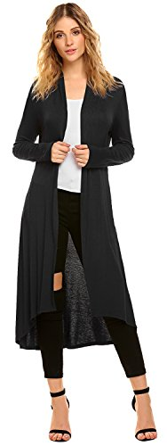 POGTMM Women's Long Open Front Drape High Low Hem Black Long Sleeve Duster Cardigan (US L(12-14), Black)