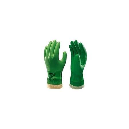 SHOWA 600 PVC Green Gardening Waterproof Gloves Knit Wrist Size 9/L Ochrona i obsługa obiektów Rękawice robocze