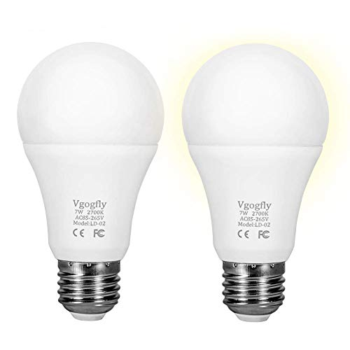 Sensor Lights Bulb Dusk to Dawn LED Light Bulbs Smart Lighting Lamp 7W E26/E27 Automatic On/Off, Indoor/Outdoor Yard Porch Patio Garage Garden (Warm White, 2 Pack) (Bulb Two Lamp)