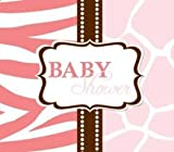 Creative Converting Baby Shower Wild Safari Pink 25 Count Enhanced Invitations