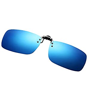 Pro Acme Polarized Clip-on Flip Up Sunglasses For Driving Fishing Sports Traveling Fits Over Prescription Eyeglasses (Blue, As Shown)
