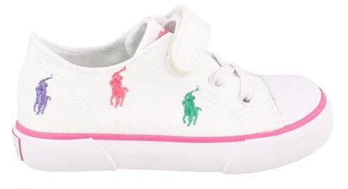 Polo Ralph Lauren Kids Bal Harb Captoe Captoe High Top Sneaker (Toddler),White Multi,5.5 M US Toddler