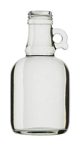 Botella de vidrio cristal con asa y tapón de rosca dorado de 250 ...