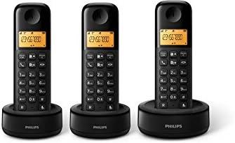 Philips - Teléfono inalámbrico con pantalla iluminada de 4.1 cm, 10hrs conversación, Negro, 3 Piezas: Amazon.es: Electrónica