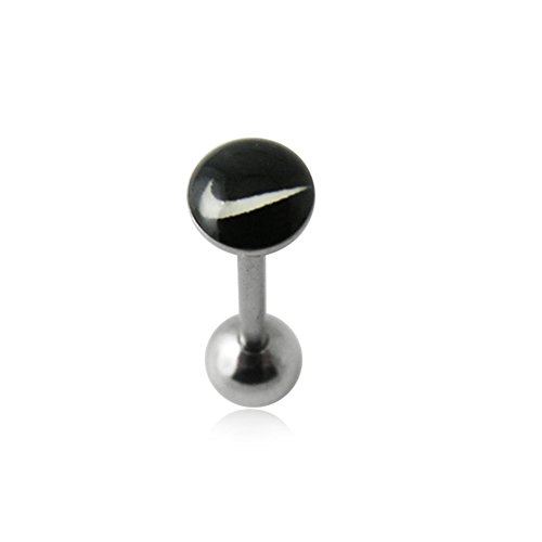 """Flat Top Black"""""""" Logo with 16MM Surgical Steel Tongue Rings"""
