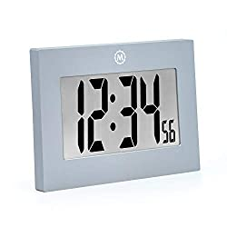 Marathon CL030064GG Large Digital Wall Clock with FoldOut Table Stand. Size is 9 inches with Big 3.25 Inch Numbers. Batteries Included. Frame Color – Graphite Grey.