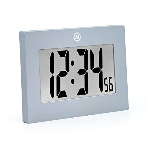(Marathon CL030064 Large Digital Wall Clock with Fold-Out Table Stand. Size is 9 inches with Big 3.25 Inch Digits. Batteries Included (Graphite Grey))