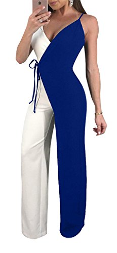Speedle Women Sexy Spaghetti Strap Black White Wrap Wide Leg Pants Jumpsuits Romper Blue S -