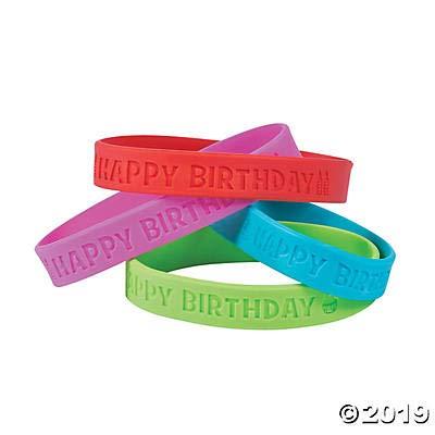Happy Birthday Rubber Bracelets (24 pieces)