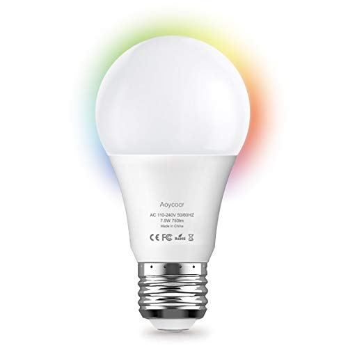 Wi-Fi Smart LED Light Bulb, Works with Alexa, Echo, Google Home and IFTTT, No Hub Required, Dimmable LED Light Bulb, Aoycocr A19 E26 RGB Color Changing Bulb 7.5W (75W Equivalent) 750 Lumen,UL Listed