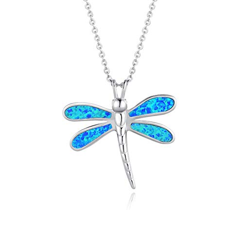 FANCIME Sterling Silver Opal Dragonfly Necklace Long Chain Charm Dainty Blue Pendant Jewelry for Women Girls 16