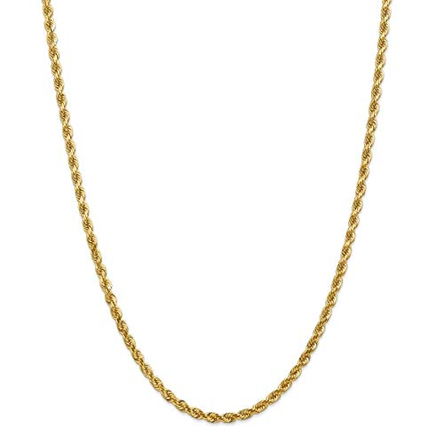 Lex & Lu Leslie's 14k Yellow Gold 4.00mm D/C Rope Chain Necklace or - Dc Mm 4 Rope