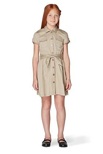 French Toast Big Girls' Twill Safari Shirtdress, Khaki, 10 (Safari Big Shirt)