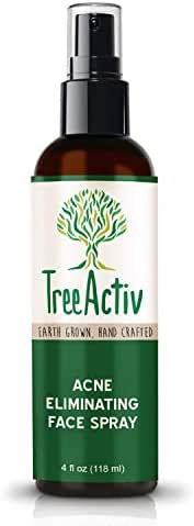 TreeActiv Acne Eliminating Face Spray, Facial Mist to Cleanse, Tone, Balance Skin, Lemongrass Water, Sandalwood Water, Witch Hazel, Salicylic Acid, Works as Aftershave, Made in USA, 4 fl oz