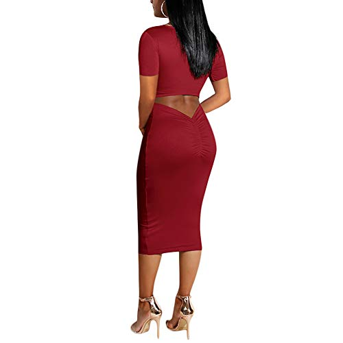 (Antopmen Women Sexy Scoop Neck Long Sleeve Back Hollow Out Ruched Mid-Calf Dress (Small, Short Sleeve WineRed) )