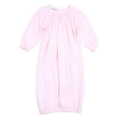 Magnolia Baby Baby Girl Classic Bunnies Bishop Gown Pink Small