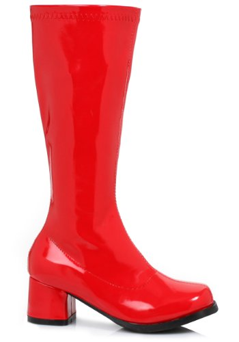 Girls Red Gogo Boots Medium (Patent Leather Gogo Boots)