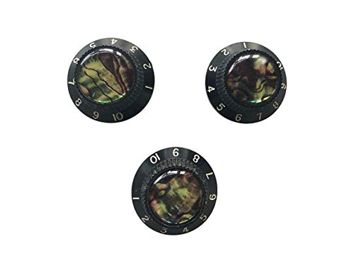 """Guyker 3Pcs Guitar Speed Control Knobs for 6mm (0.24"""") Dia. Shaft Pots - Abalone Top Volume and Tone Buttons Replacement Parts for Precision Electric Guitar (Black)"""