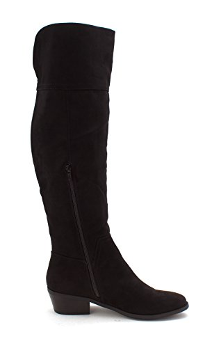 MADELINE girl Womens Turf Fabric Closed Toe Knee High Fashion, Black, Size 10.0 ()