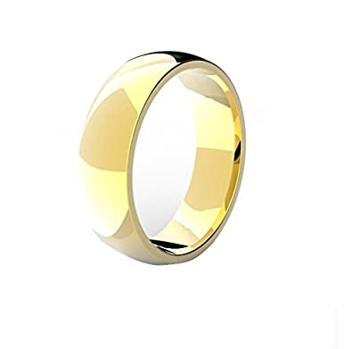 18k GOLD PLATED Men's Women's Stainless Steel Wedding Band Ring (6mm Wide) KFhKVFQ
