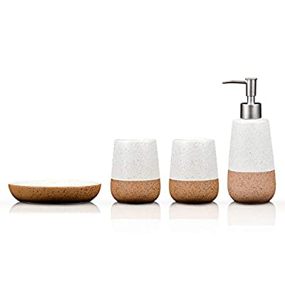 Fimary Bathroom Accessories Set White Ceramic - Including 4 Piece Bathroom Accessories Set Soap Dispenser,Toothbrush Holder,Tumbler,Soap Dish, Elegant Bathroom Set Collection - [☆Elegance And New Fashioned Design]: The elegance crafted quality ceramic handmade bathroom accessories will beautify the bathroom, giving you different shower experience [☆Ceramic Made Room More Classical]: Made from beautiful ceramic so you don't have to hassle with flimsy plastic anymore,glazing design giving your family elegant feeling and match to any style of bathroom [☆Functional Bathroom Accessories Set]: 4 piece Porcelain bathroom accessories Set including soap dish, toothbrush holder, soap pump, tumbler that everything you would need for your bathroom,organize your toiletries - bathroom-accessory-sets, bathroom-accessories, bathroom - 31f7CaJwGDL. SS400  -