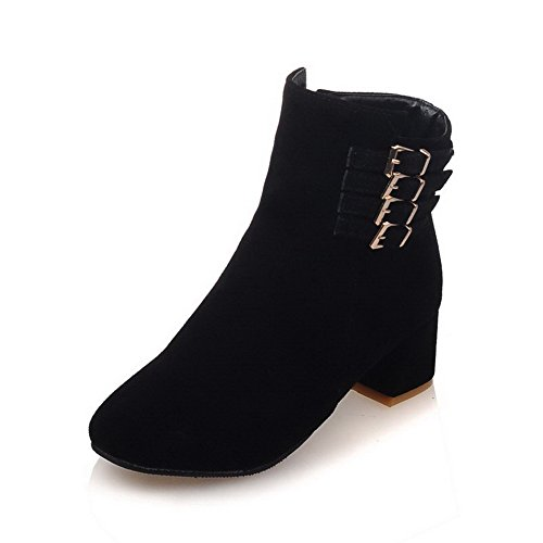 Kitten Toe Zipper AgooLar Boots Women's Low Round Black Heels Closed Top Frosted 6qfwqY