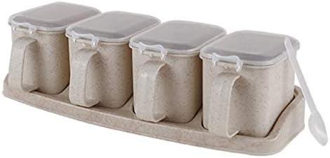 プラスチックスパイスコンテナー–スパイス、ハーブ、マリネ、砂糖、塩、コショウを保存するための3つのミニスパイス瓶のスパイスジャーセット–麦わら