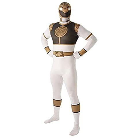 Rubie´s Official White Power Ranger Mens Fancy Dress Mighty Morphin 2Nd Skin Suit Adults Costume (Mighty Morphin White Ranger Kostüm)