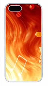 Protective PC Case Skin for iphone 5 White Fashion PC Case Back Cover Shell for iphone 5S with Fire Musical Note