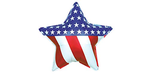 "American Flag Star Jumbo 34"" Foil Party Balloon"