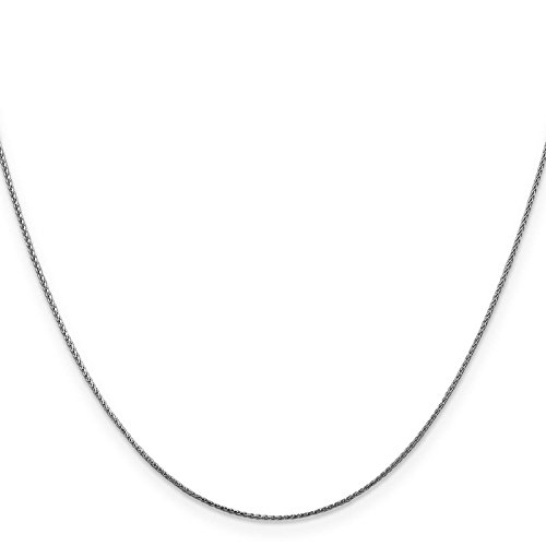 14k White Gold 0.5mm Diamond-Cut Spiga Pendant Chain Necklace 24'' by Venture Jewelers