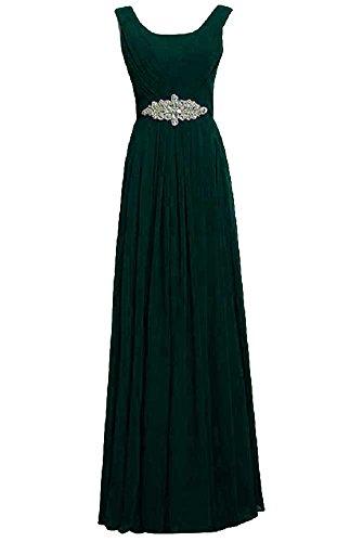 Dunkelgrün Party Emily lang Rundhalsausschnitt Kleid Trägern Strass Beauty x0tSn4qawa