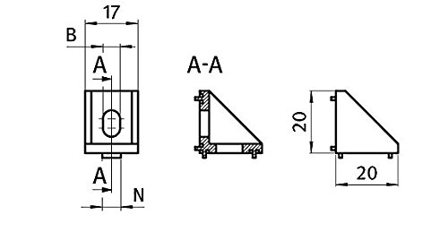 10 x Winkel Zinkwinkel 20 20x20x17 mm M5 Nut 5 Zink blank