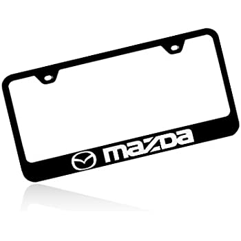 Amazon Com Mazda Logo Black Metal License Plate Frame Automotive