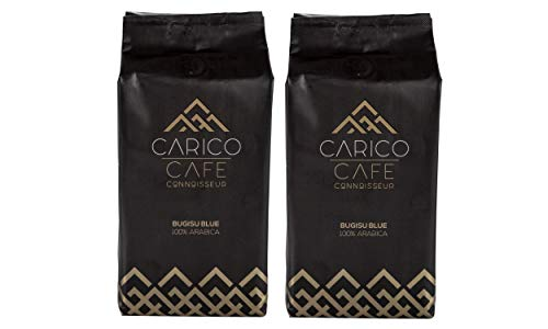 Carico Cafe Connoisseurs Premium Whole Bean Coffee Bugisu Blue, 2 Pack, 1.1 Pounds | 100% Arabica Grown at High Altitude in Eastern Uganda