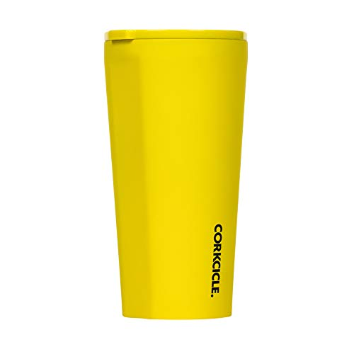 Corkcicle Tumbler - Neon Lights Collection - Triple Insulated Stainless Steel Travel Mug, Neon Yellow, 16oz