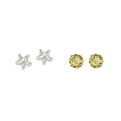 Sterling Silver Starfish Mini Earrings with Center and a pair of Yellow 4mm CZ Stud Earrings (Earrings Mini Starfish)