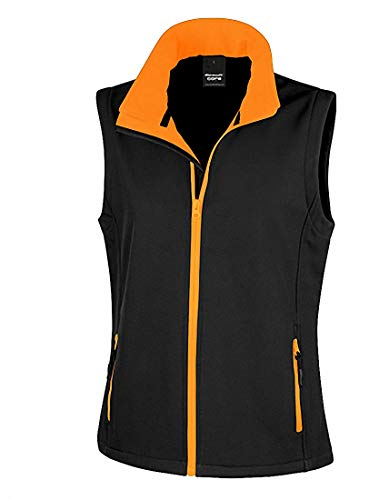 Mujer 2store24 orange Printable Softshell Imprimible Black Bodywarmer Chaleco FFwr5qxBp