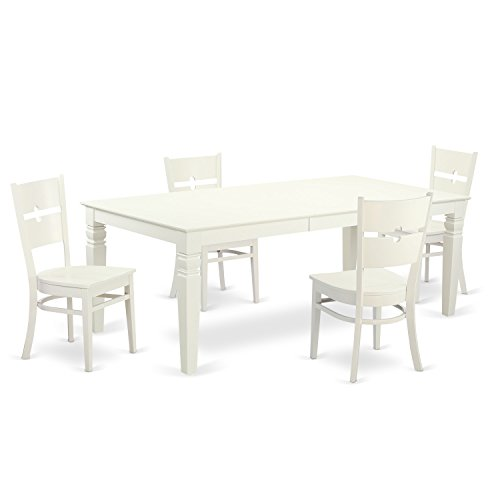 East West Furniture LGRO5-LWH-W 5Piece Dinette Set with One Logan Table & Four Kitchen Chairs in Linen White Finish