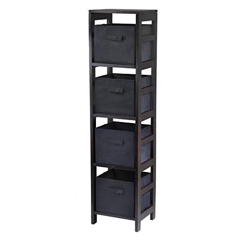 (Winsome Wood Capri Wood 4 Section Storage Shelf with 4 Black Fabric Foldable Baskets)