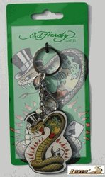 Don Ed Hardy Snake Polydomed Chrome Key Chain ()