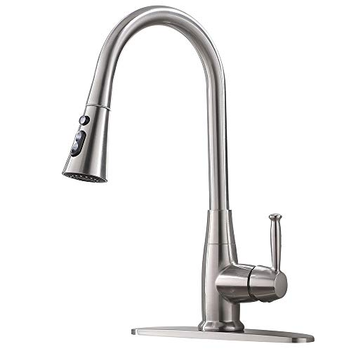 - Friho Commercial Lead-Free Single Handle Brushed Nickel Pull Out Kitchen Faucet, Stainless Steel Kitchen Faucet With Pull Down Sprayer