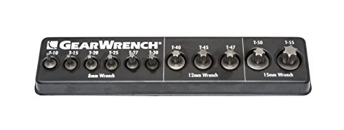 GearWrench 81560 11 Pc. Metric Ratcheting Wrench Torx Insert Bit Set, Black - Torx Insert Bit