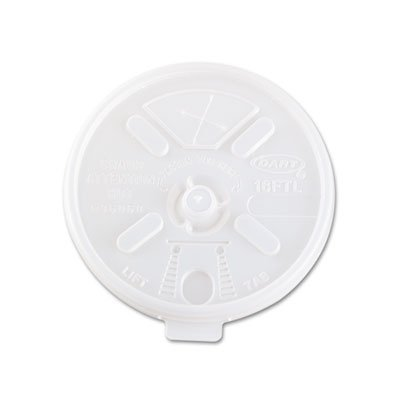 Dart 16FTLS Translucent Lift N' Lock Straw Slotted Lid (Case of 1000)