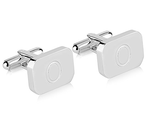 Lux White-Gold Plated Monogram Initial Engraved Stainless Steel Man's Cufflinks With Gift Box -Personalized Alphabet Letter's By Pier (O- White (Cuff Gold Plated Cufflinks)
