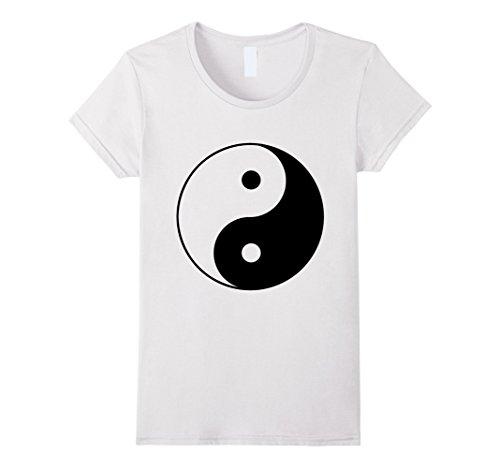 Womens Ying Yang Symbol, Hippie / Peace T shirt Medium White