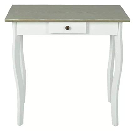 Cottage Style Hallway Side End Table Lamp Stand Tables   White And Gray