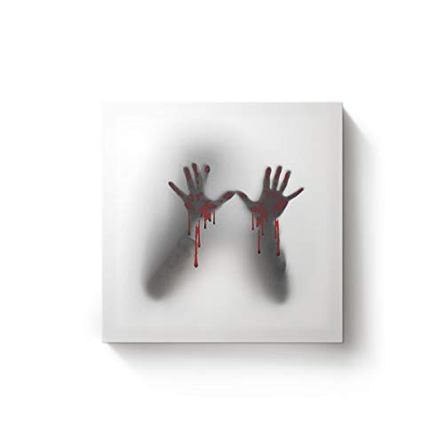 YEHO Art Gallery Happy Halloween Handprint with Blood Canvas Wall Art,Modern Square Artworks Oil Painting Art Decor for Home Office,Stretched by Wooden Frame,Ready to Hang,16 x 16 Inch