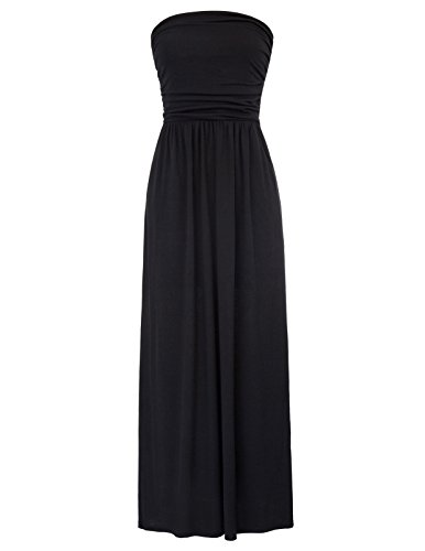 GRACE KARIN Women's Strapless Maxi Dress Tube Top Long Skirt Sundress Cover Up Size S Black